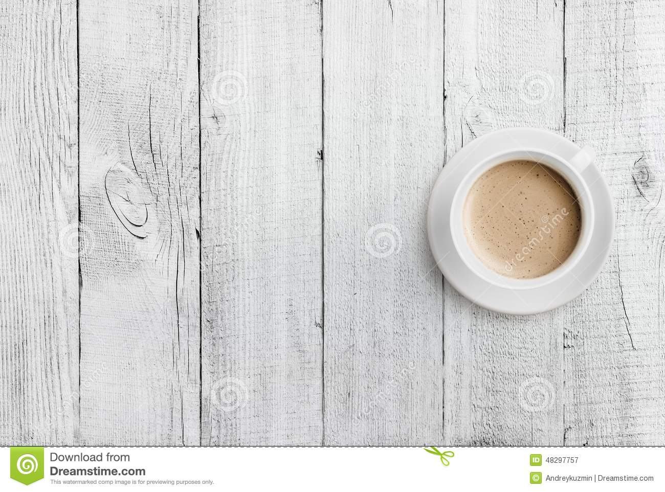 Very Impressive portraiture of Coffee Cup Top View On White Wood Table Background Stock Photo Image  with #85A823 color and 1300x962 pixels
