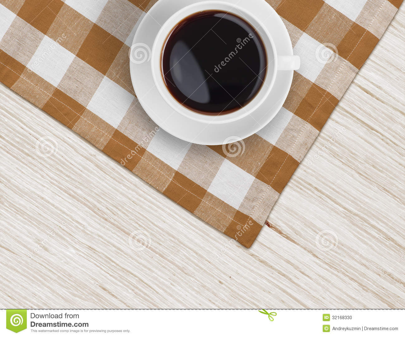 Coffee Cup Top View On Wooden Table And Tablecloth Stock Photo