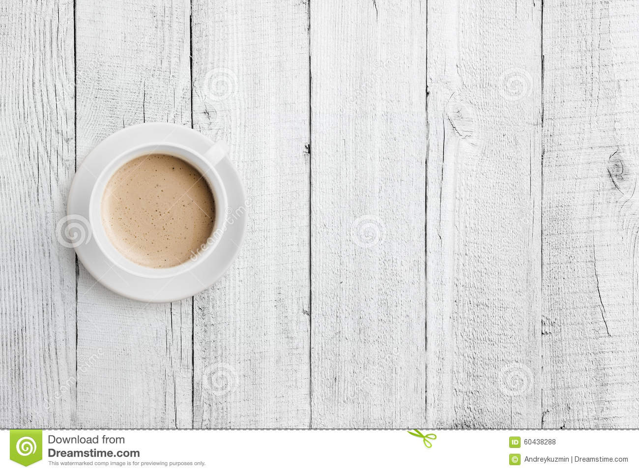 Very Impressive portraiture of Coffee Cup On White Wood Table Top View Stock Photo Image: 60438288 with #85A724 color and 1300x962 pixels