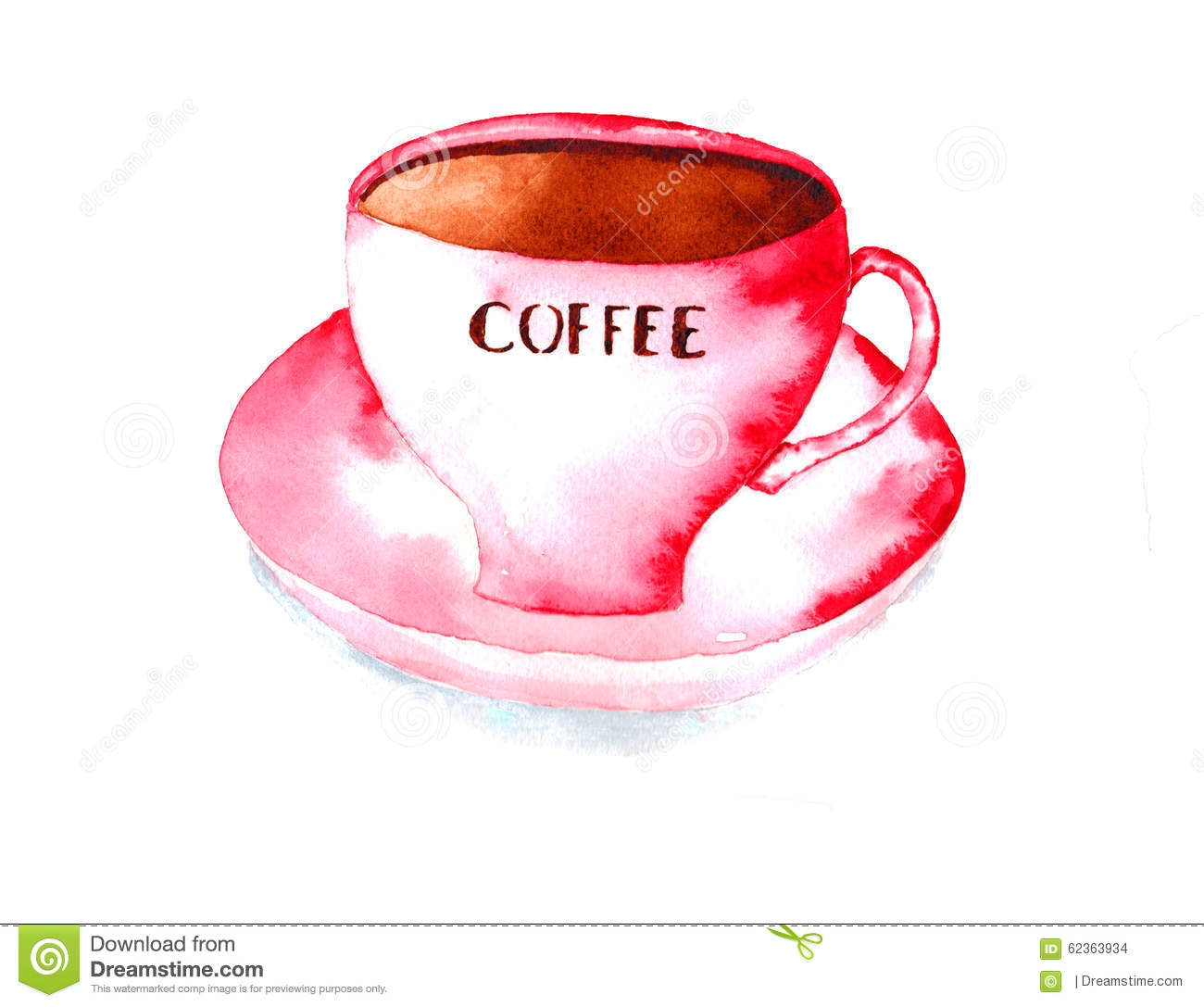 Coffee cup stock illustration image 62363934 for Coffee watercolor