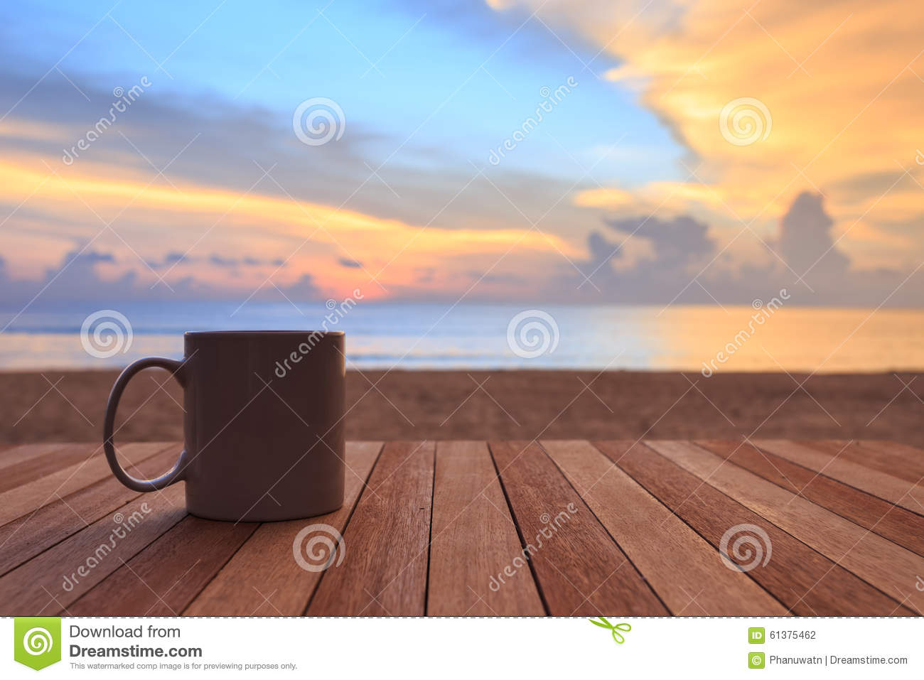 Coffee Cup On Wood Table At Sunset Or Sunrise Beach Stock Photo 61375462 - Megapixl & Coffee Cup On Wood Table At Sunset Or Sunrise Beach Stock Photo ...