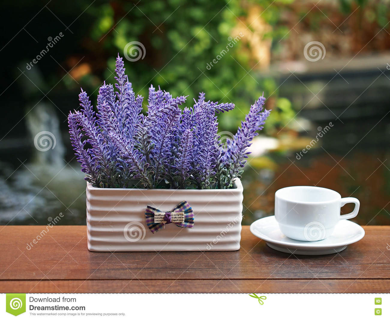 Coffee Cup On Wooden With Flower In Vase On Table, In The ...
