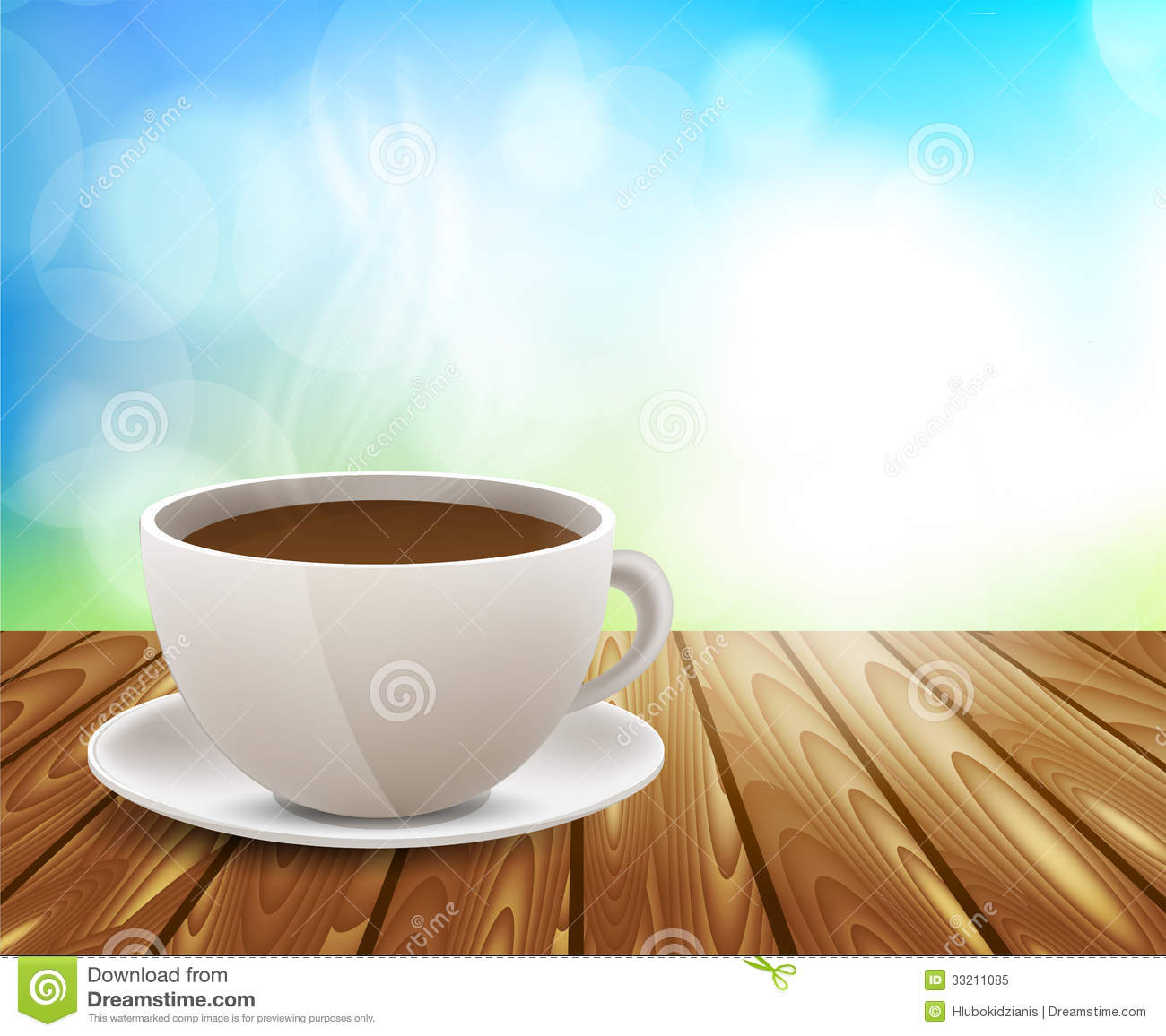 Coffee Cup On Wooden Table Royalty Free Stock Photo - Image: 33211085