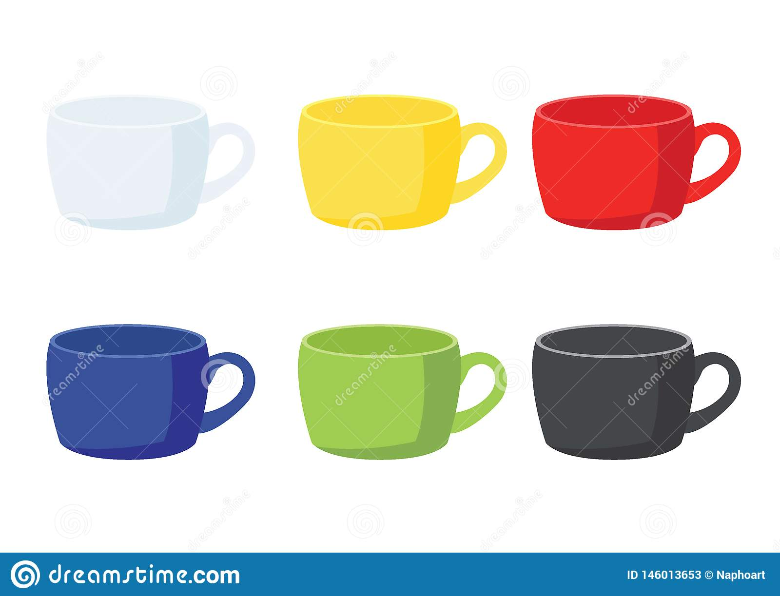 Coffee cup yellow on white background