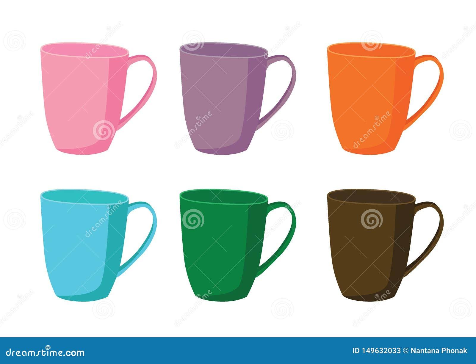 Green Orange White Purple Multicolored Coffee Mug