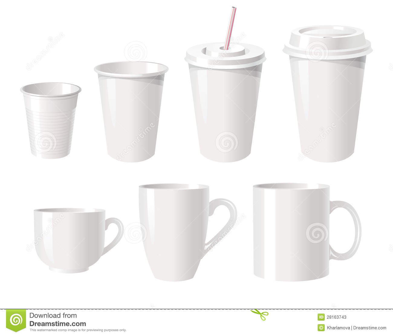 Coffee Cups Stock Vector Image Of Beverage Empty Group