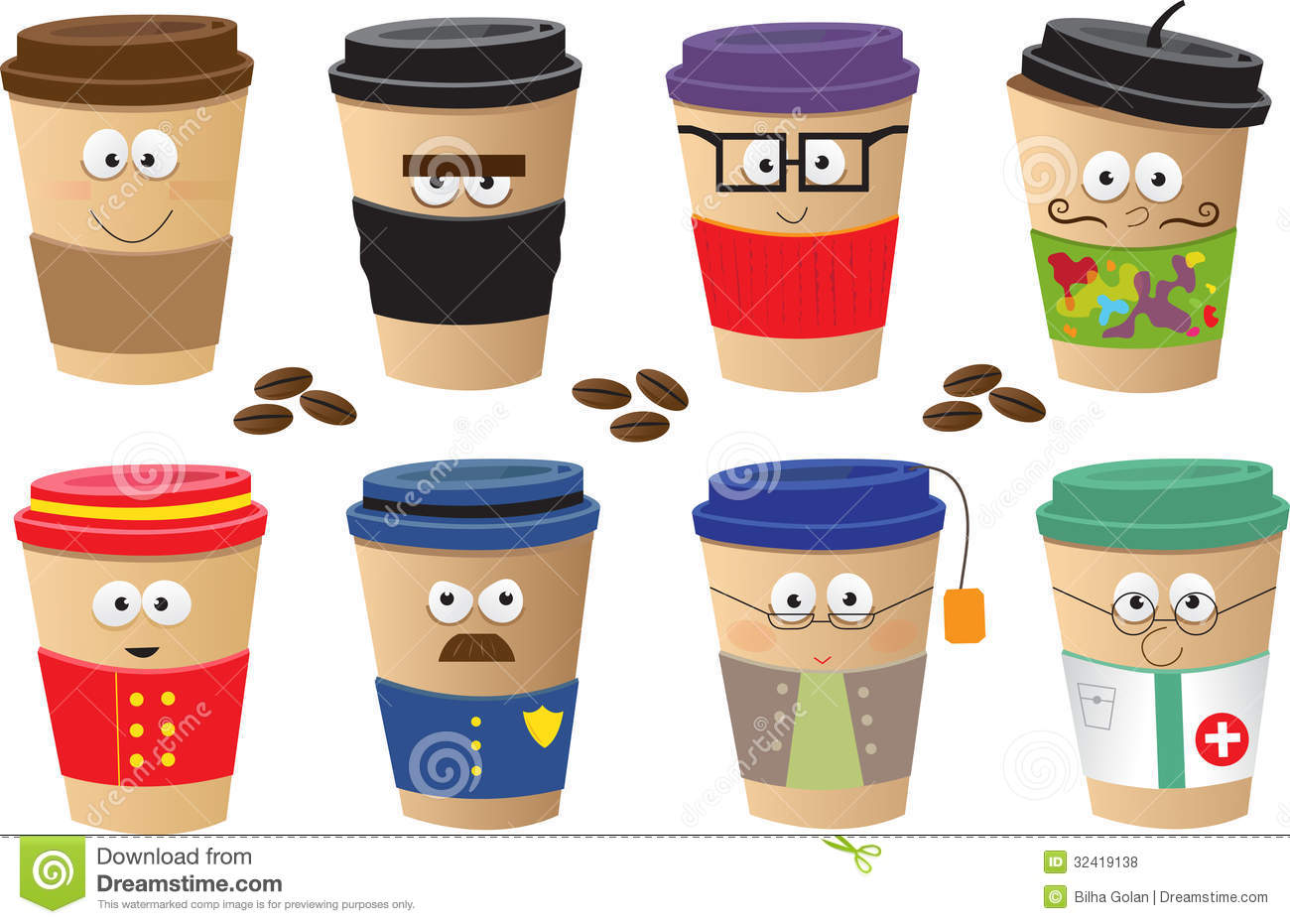 Coffee Cups Characters Royalty Free Stock Photos Image