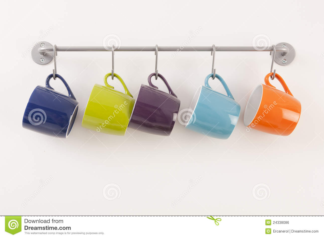 Colorful Cups On Metal Rack Stock Photo Image Of Cups