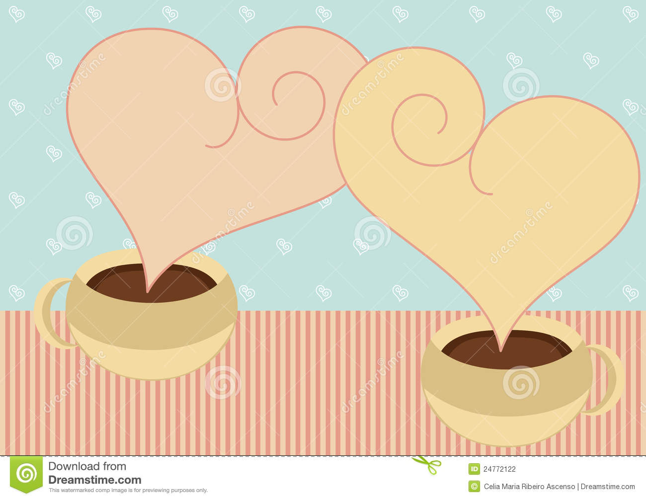 Abstract vintage background stock images image 31930534 - Coffee Cups With Heart Steam Valentines Card Stock Photography