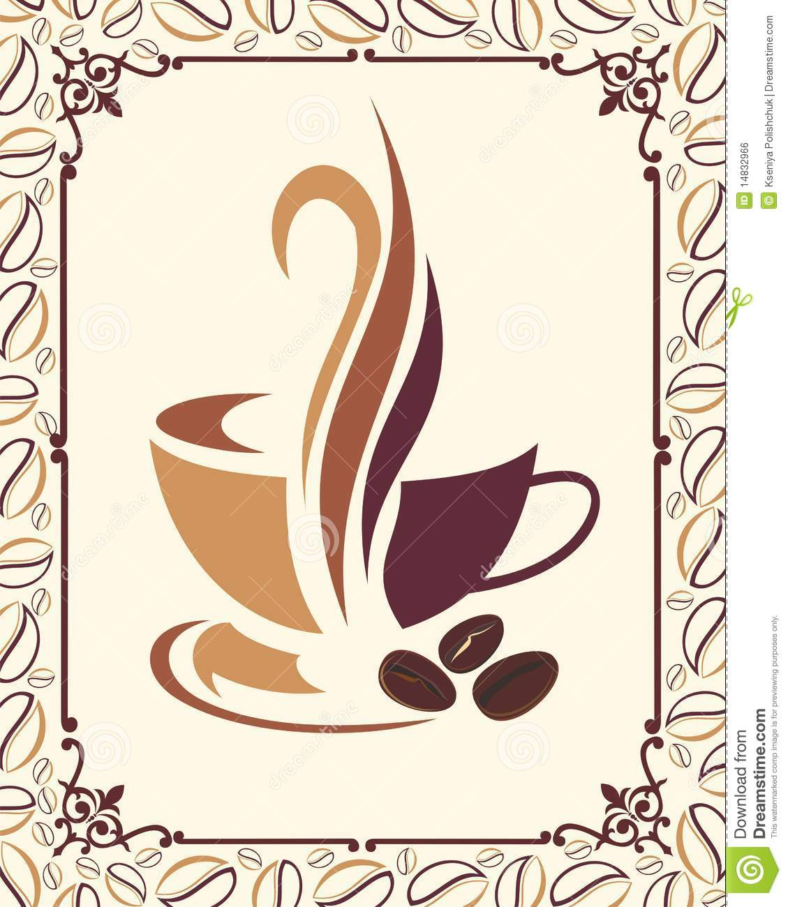 Coffee Design With Beans Frame Stock Vector - Illustration of ...