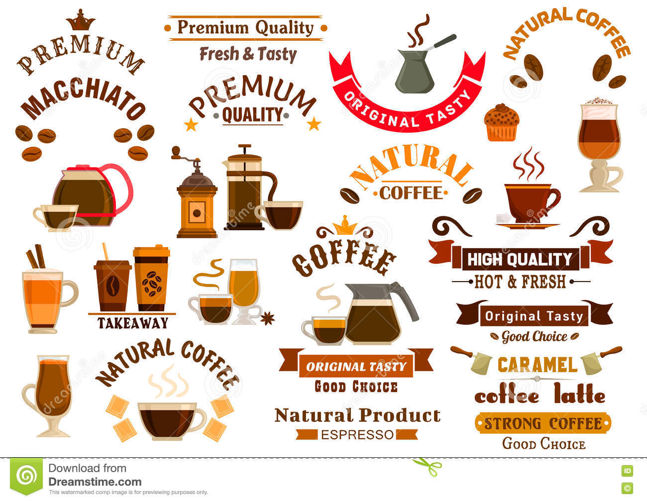 Coffee and desserts icons for cafe signboards stock vector for 10 reglas del salon de clases en ingles