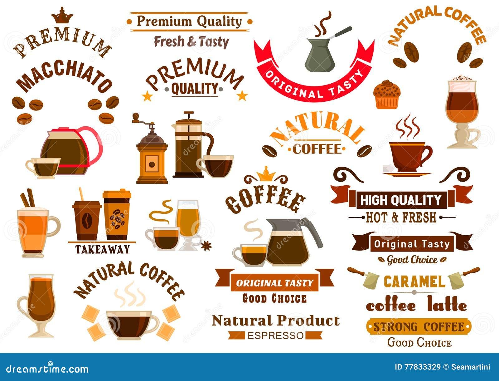 Coffee and desserts icons for cafe signboards stock vector for 10 reglas para el salon de clases en ingles