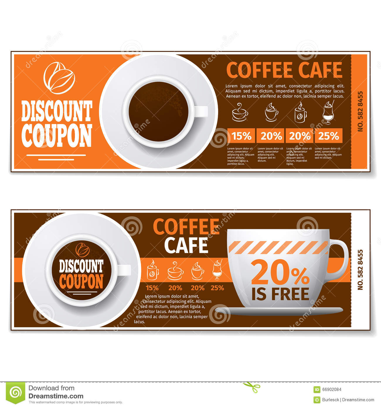 Coffee Discount Coupon Or Gift Voucher. Vector Template  Free Discount Vouchers