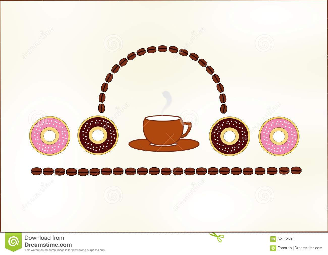 Coffee and donuts stock illustration. Illustration of cups ...