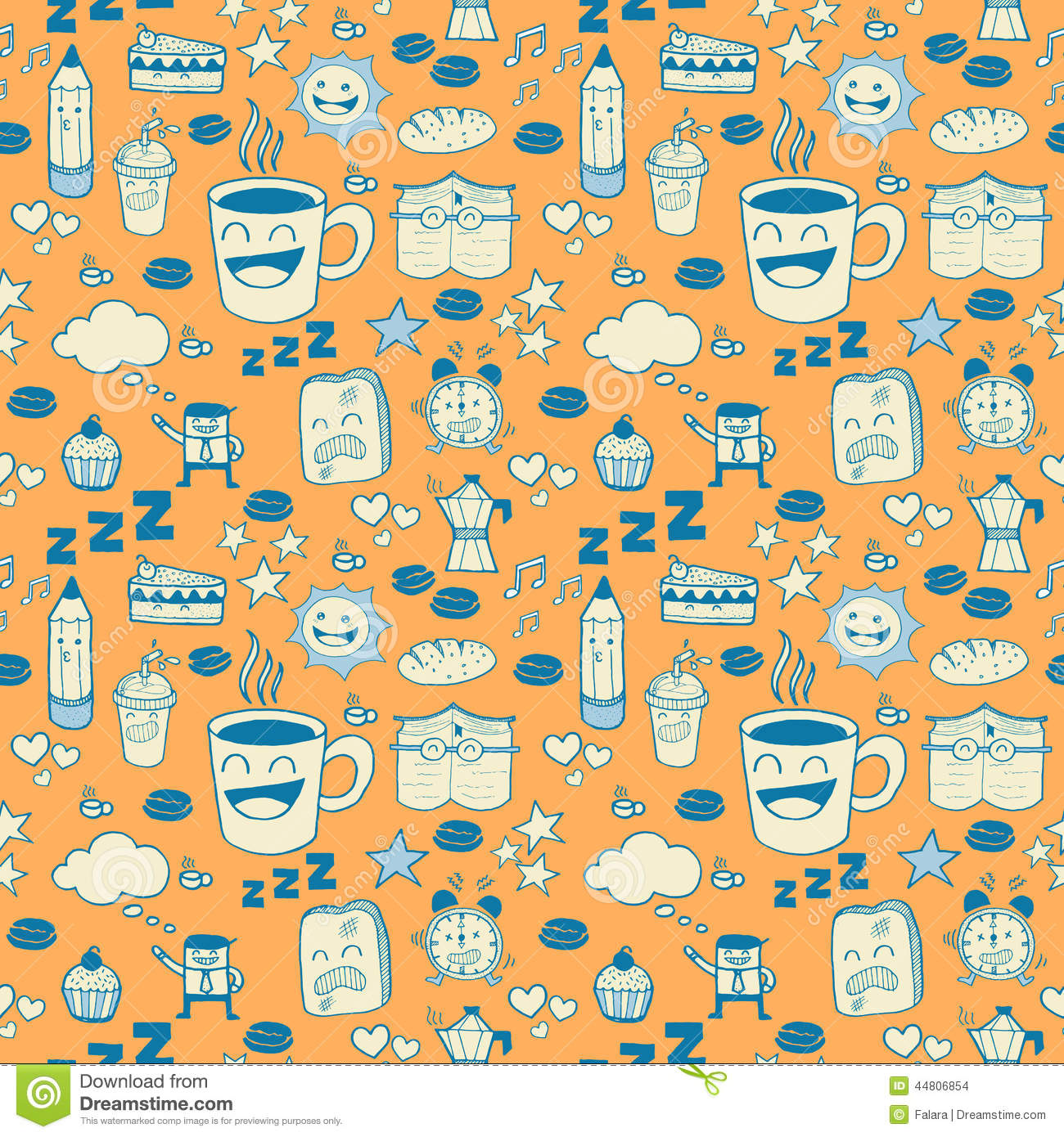 seamless doodle coffee pattern - photo #19