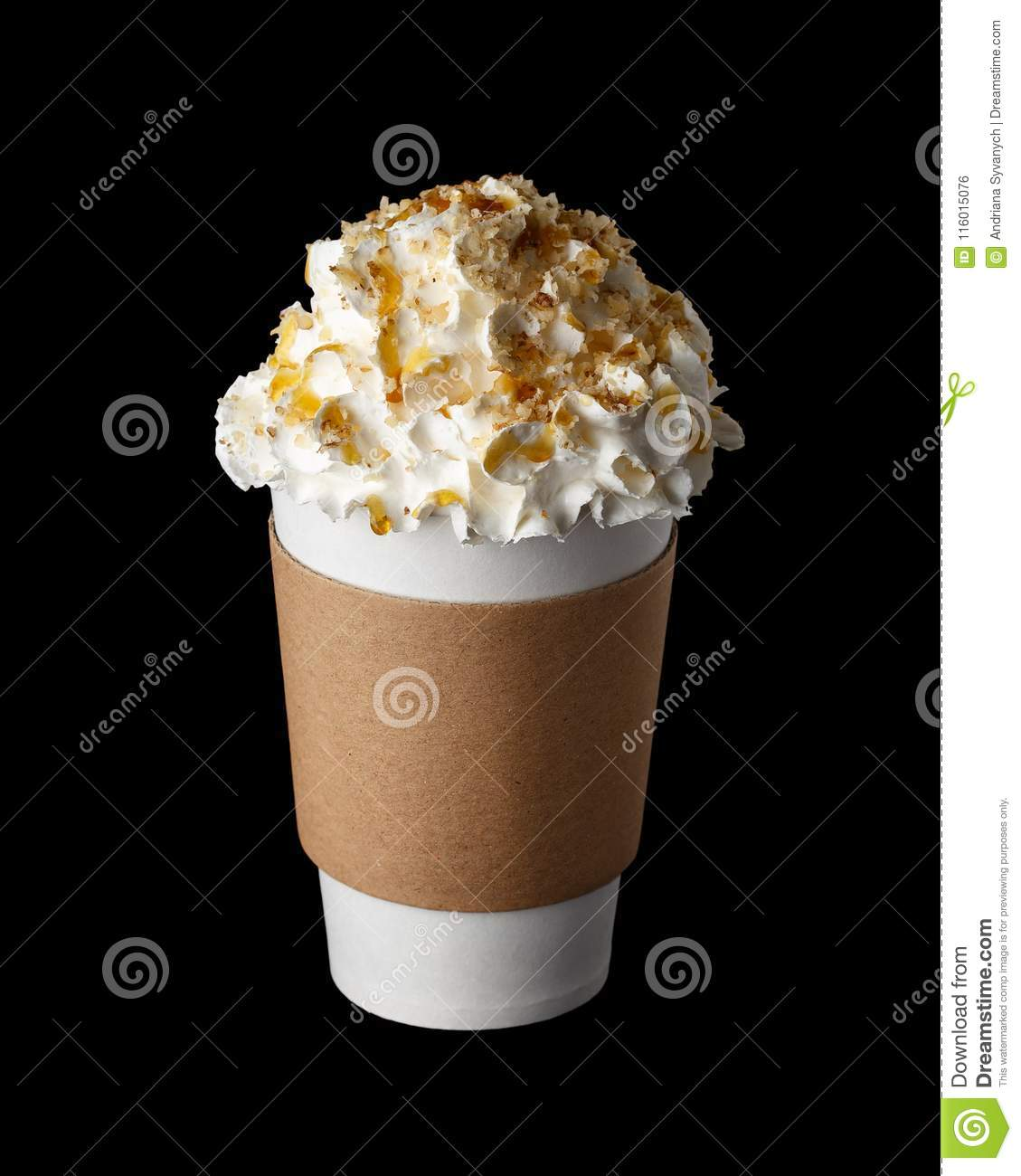 Coffee Drink With Whipped Cream In Paper Cup Stock Photo