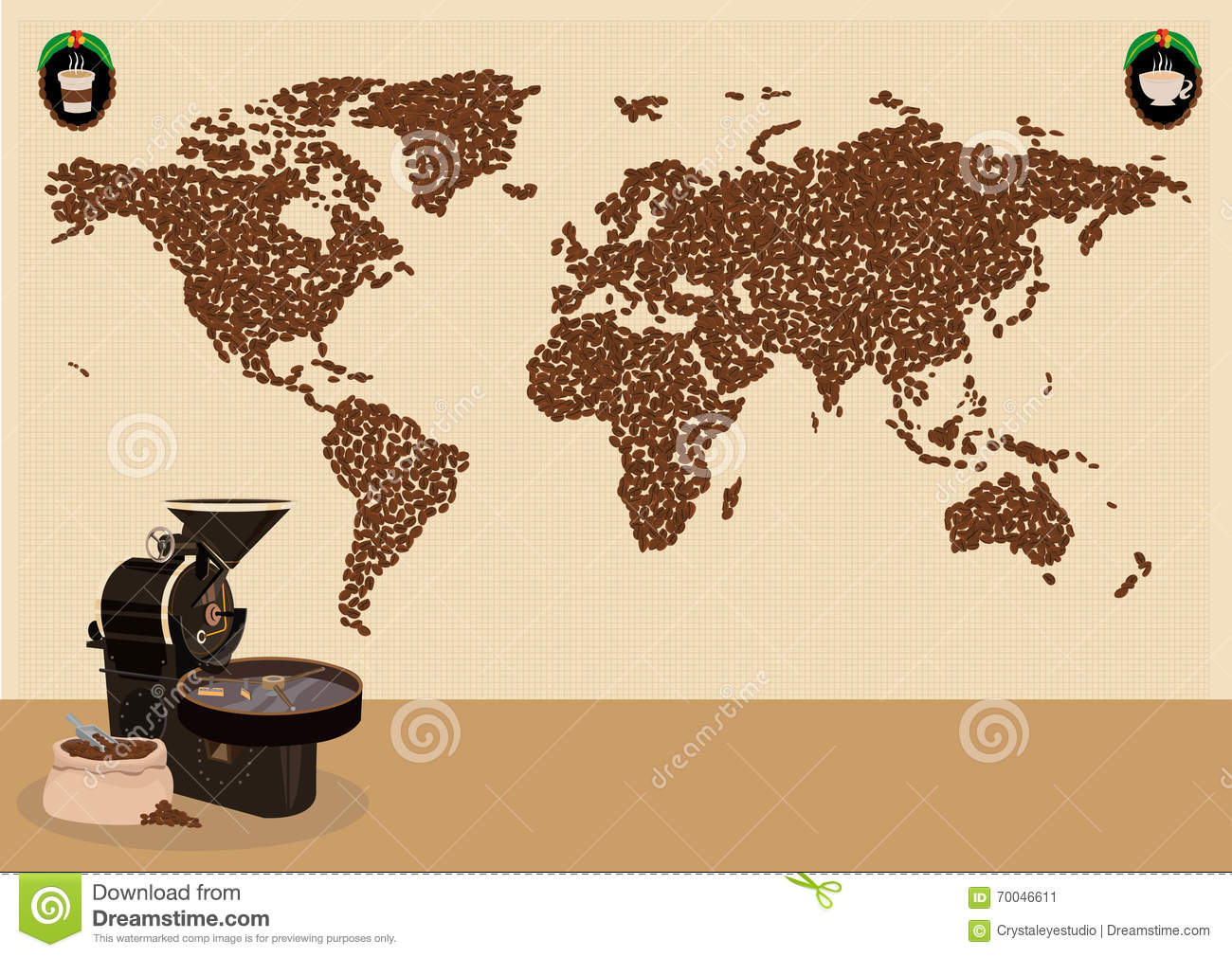 coffee drinkers infographic or use around the world map