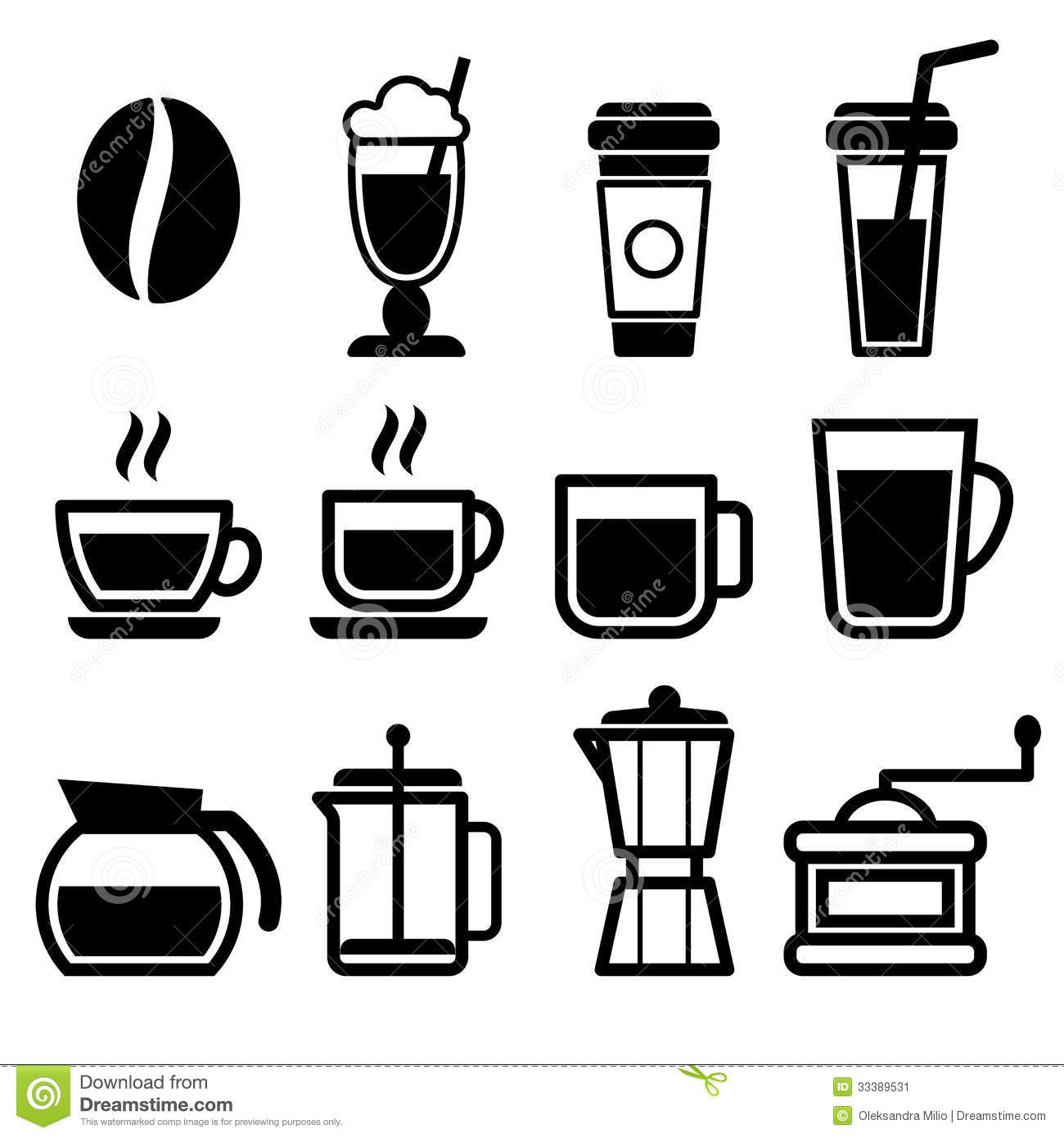 Coffee Drinks Icons Stock Image - Image: 33389531