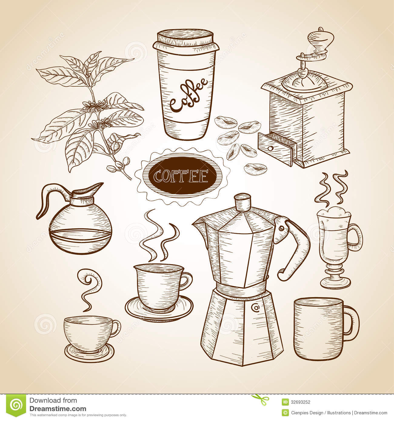 Coffee Grinder Drawling ~ Coffee elements hand drawn illustration stock vector