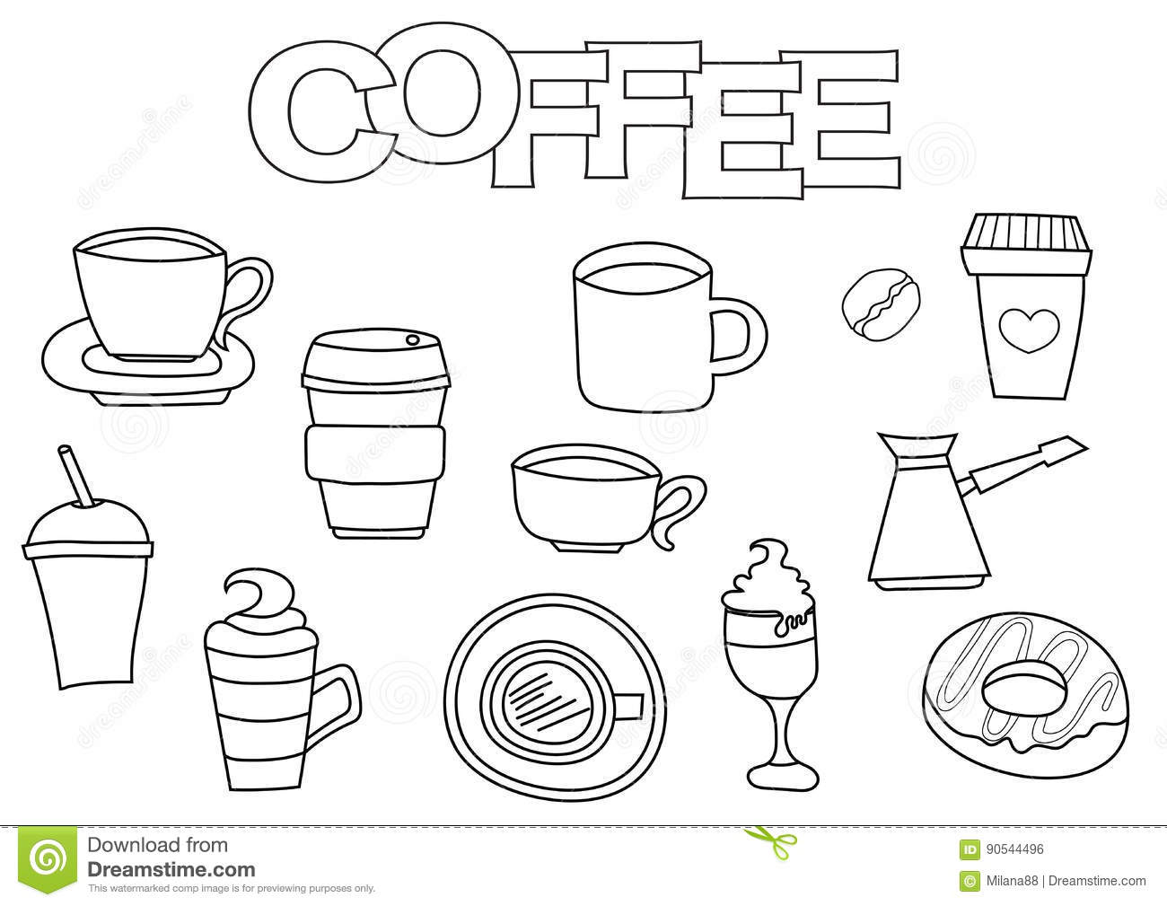 Coffee Elements Hand Drawn Set. Coloring Book Template. Outline ...