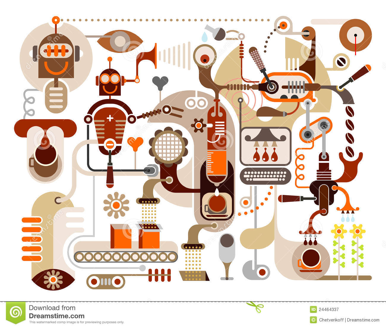 Coffee Factory Abstract Vector Illustration Stock Vector