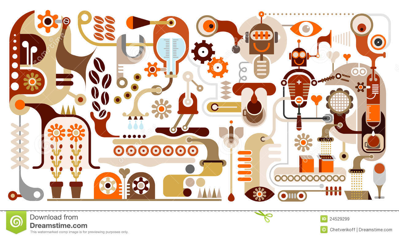 Coffee Factory Abstract Vector Illustration Royalty Free