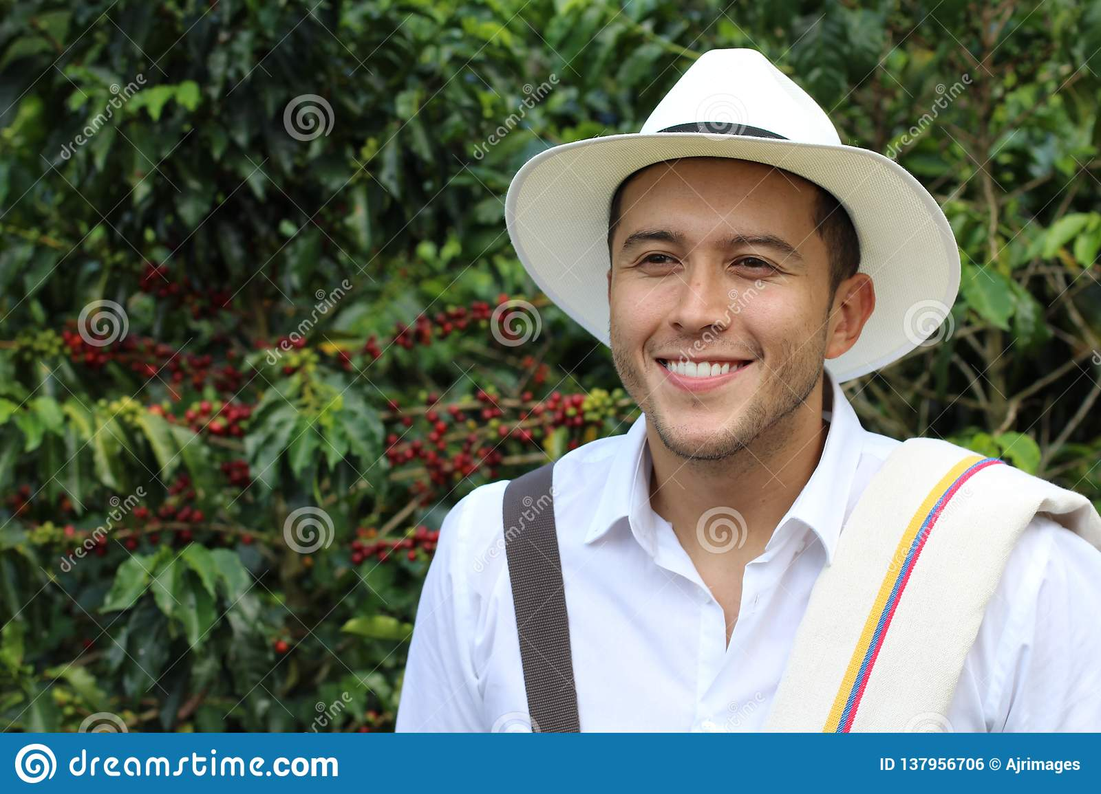 Coffee farmer in front of a plantation