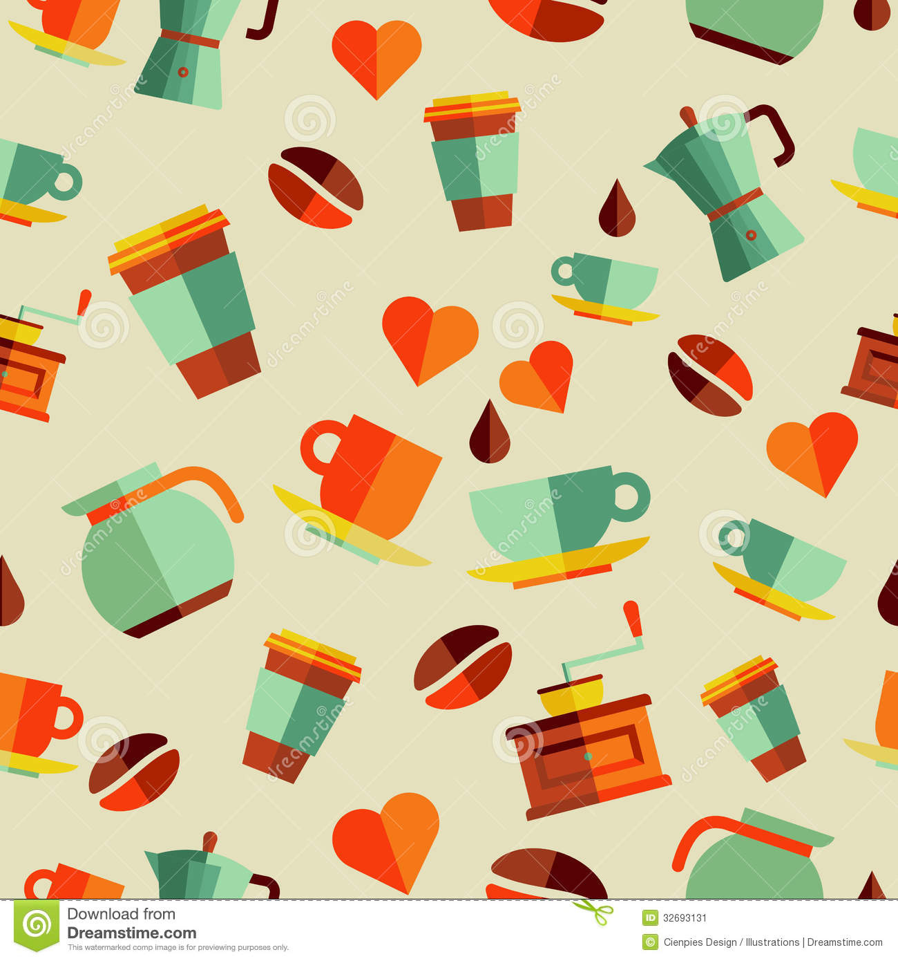 Coffee Flat Icons Seamless Pattern Illustration Stock