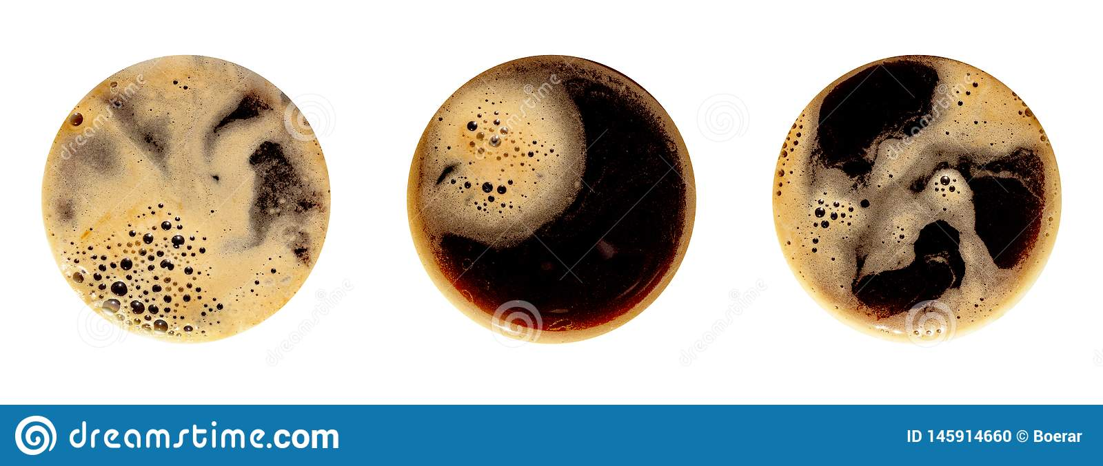 Coffee foam isolated on white background. Round top view close up photography of cup