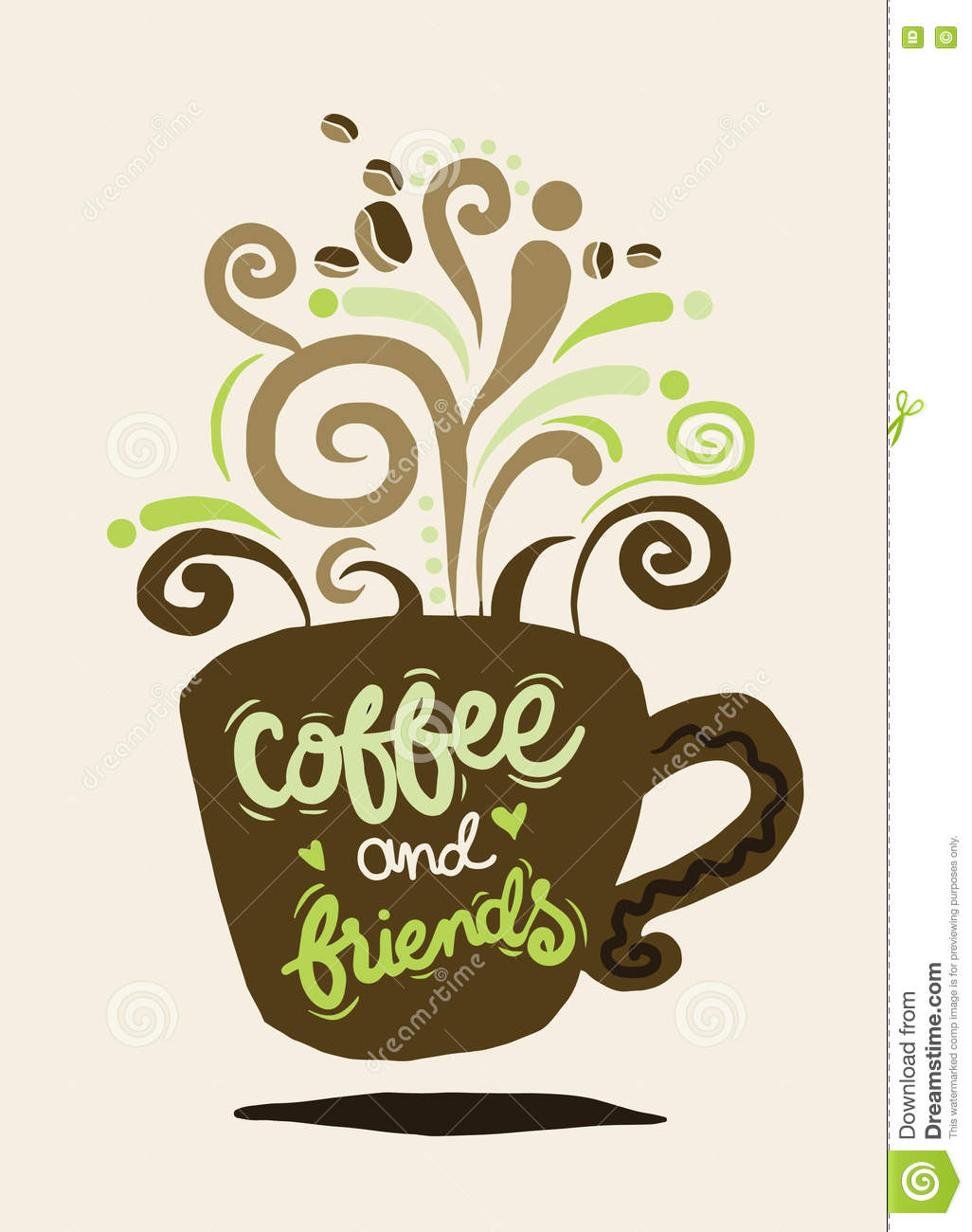 Coffee And Friends Lettering On Coffee Cup Shape Set Stock ...