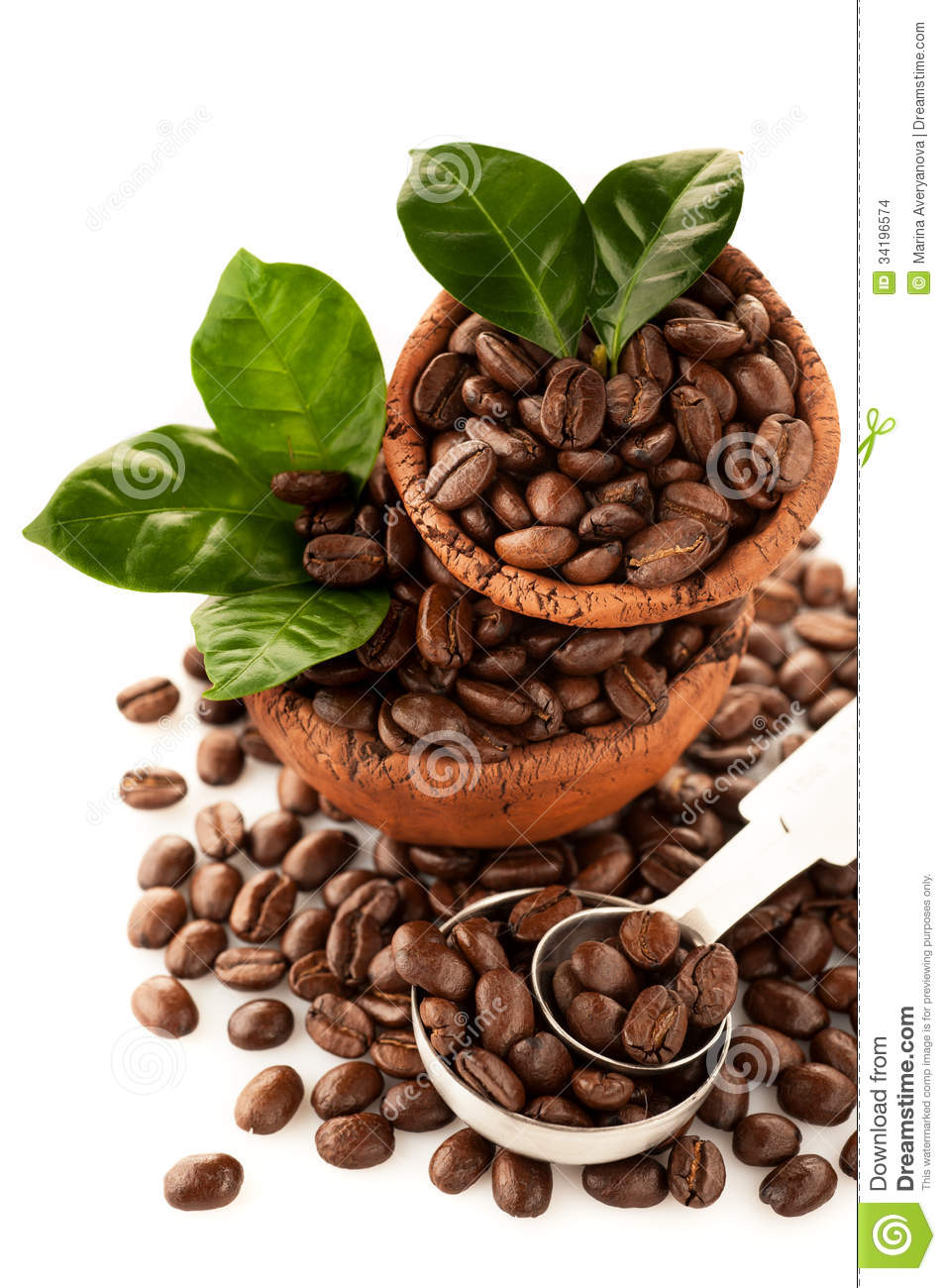 Coffee Grains With Green Leaves In Ceramic Bowls Stock Images - Image HD Wide Wallpaper for Widescreen