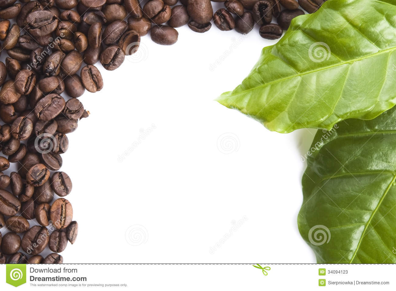 Coffee Grains And Leaves Stock Photos - Image: 34094123 HD Wide Wallpaper for Widescreen
