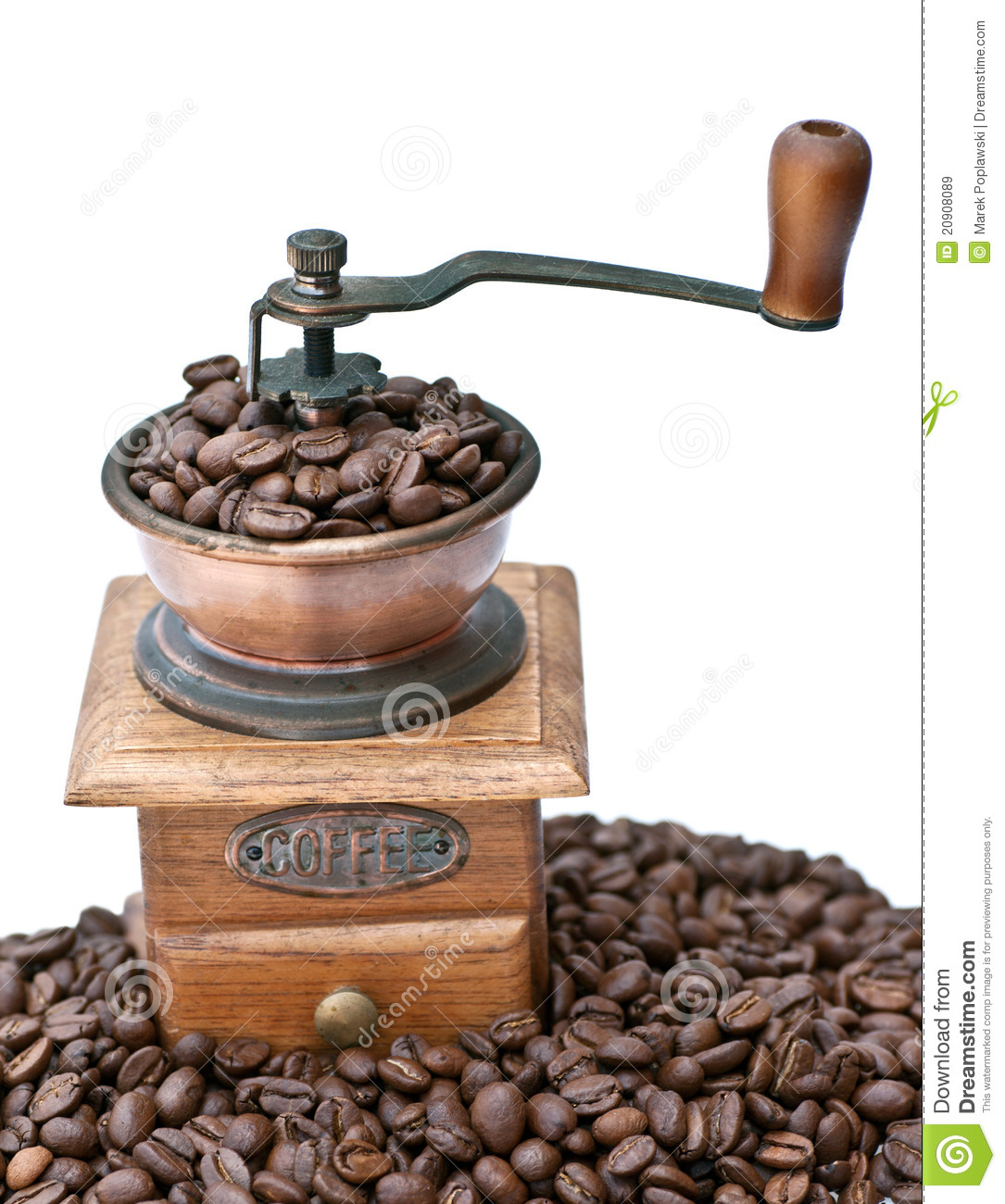 Coffee Bean Grinder ~ Coffee grinder and beans royalty free stock images