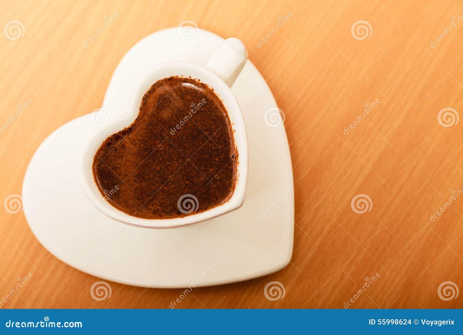 Coffee In Heart Shaped Cup Mug Caffeine Energy Stock