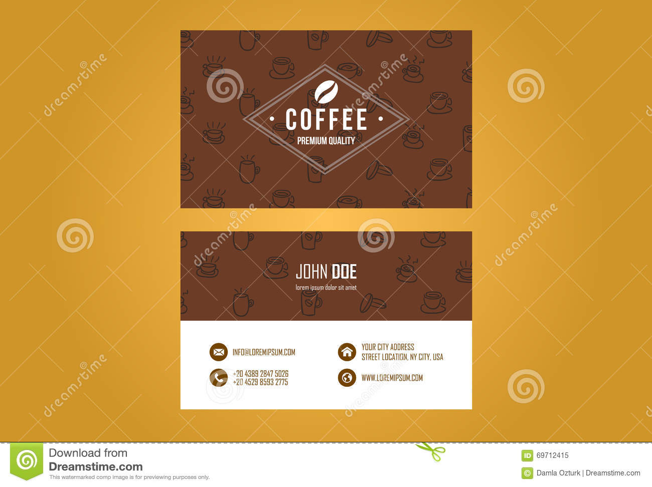 Coffee House Business Card Design Stock Image - Image of card, brand ...