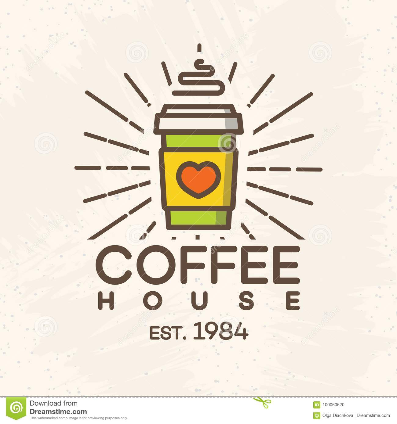 coffee house logo with paper cup of coffee color style isolated on