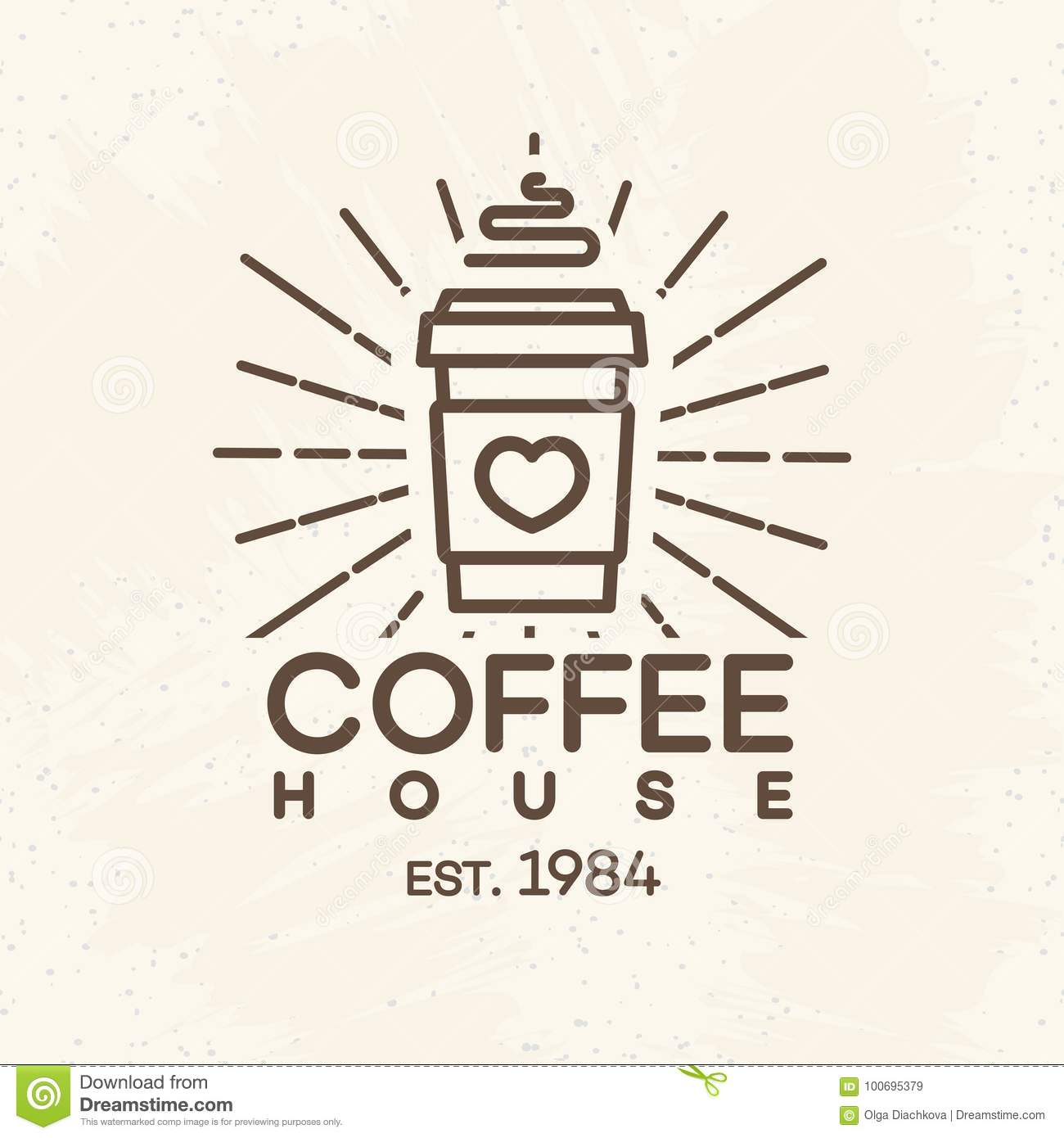 coffee house logo with paper cup of coffee line style on background