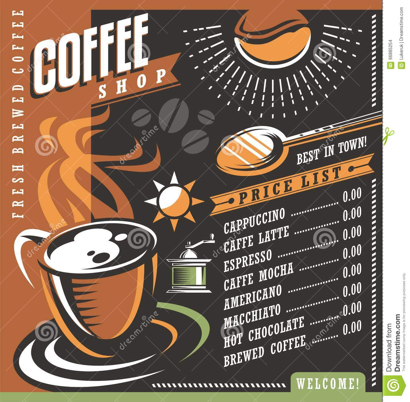 Menu price list for coffee beans cartoon vector for Coffee price list template