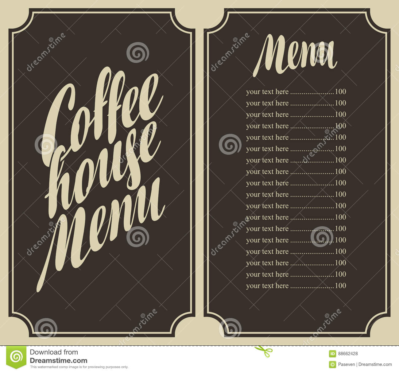 Coffee house menu for a price list vector illustration for Coffee price list template
