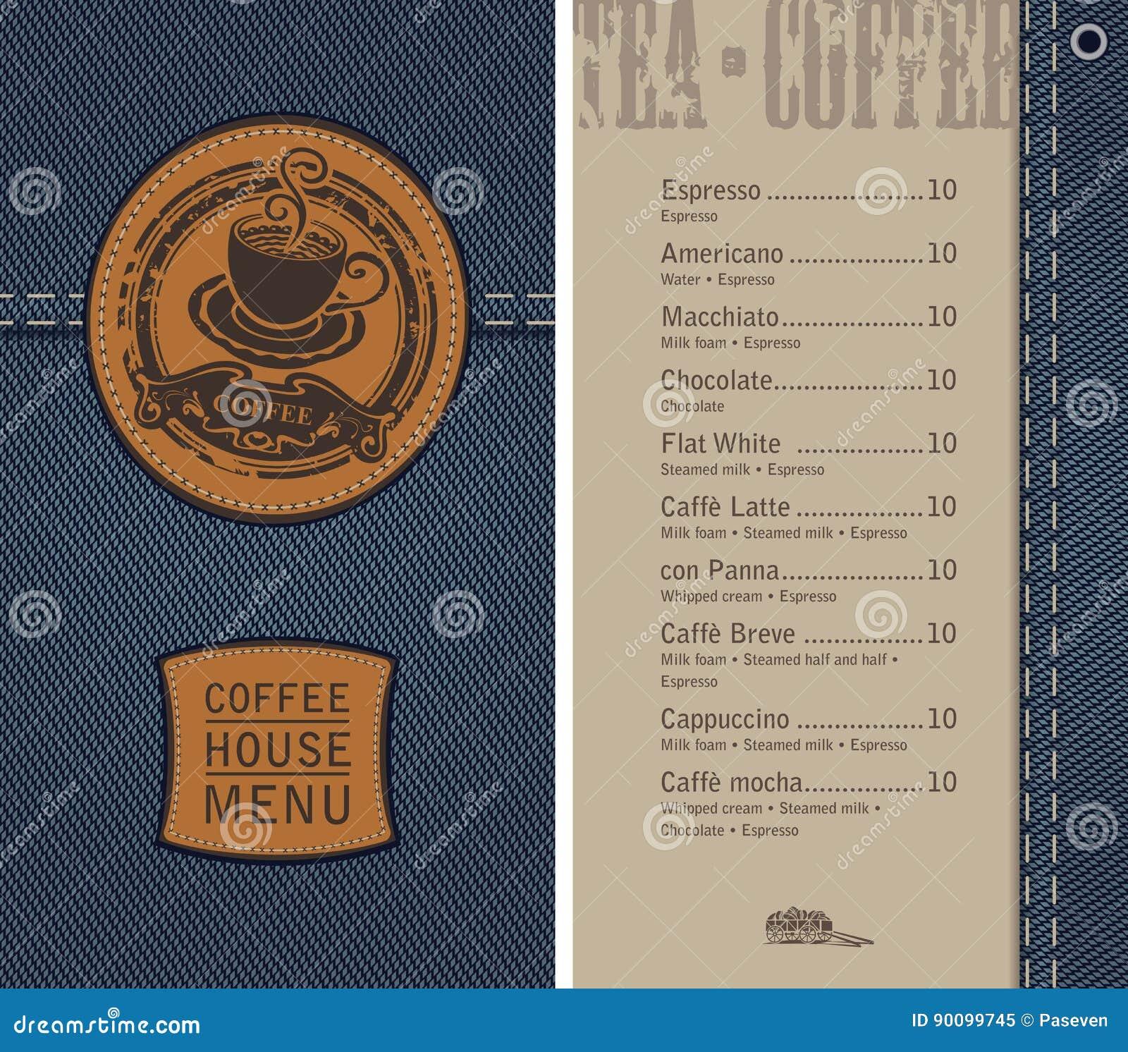 Coffee House Menu On Denim Background With Price Cartoon
