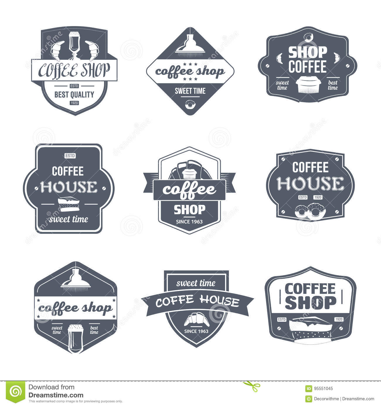 Coffee House Vintage Vector Set Of Logos Stock Vector Illustration Of Idea Diner 95551045
