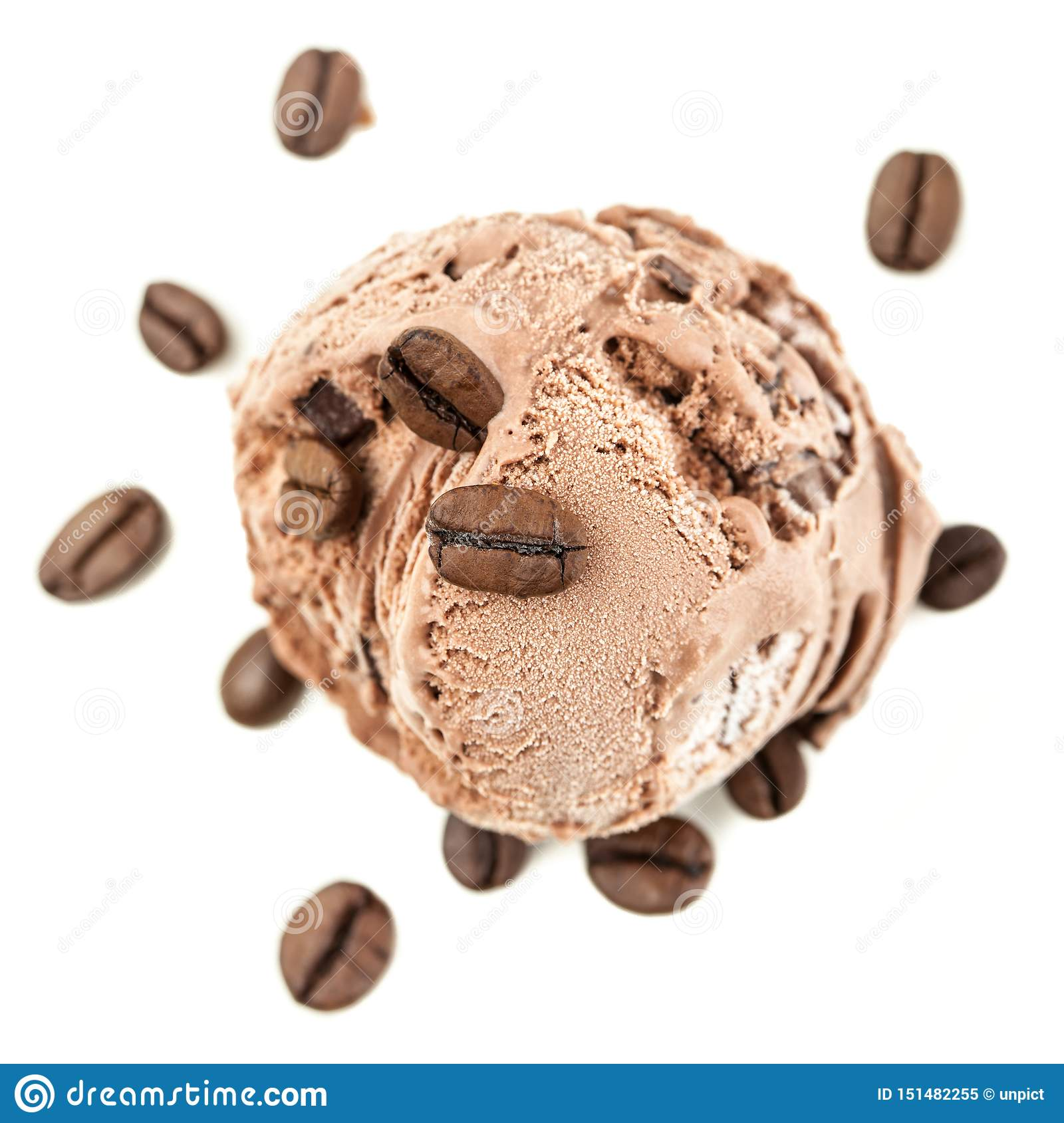 A coffee ice ball from above