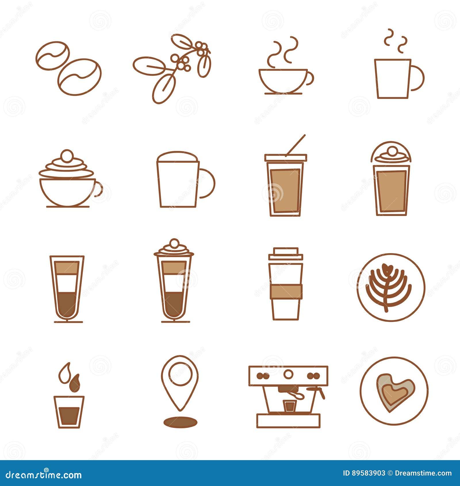 Coffee icon set , coffee bean coffee shop