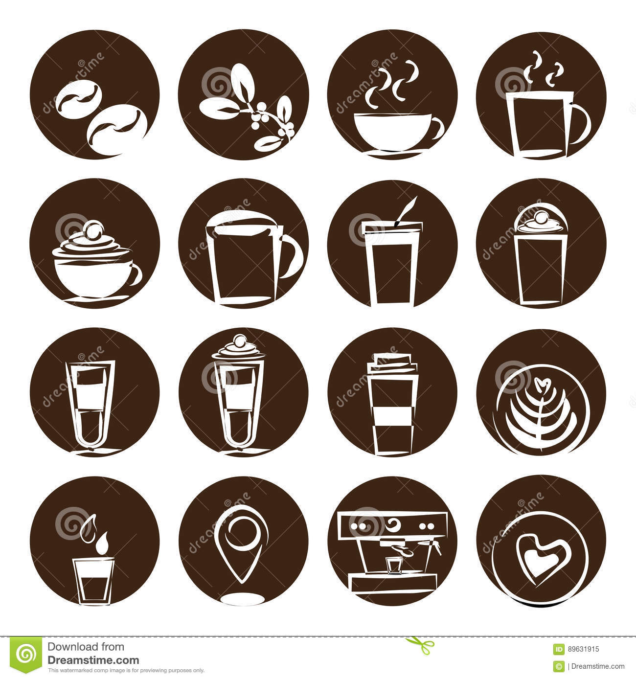 Coffee Icon Set Coffee Bean Coffee Shop Stock Vector