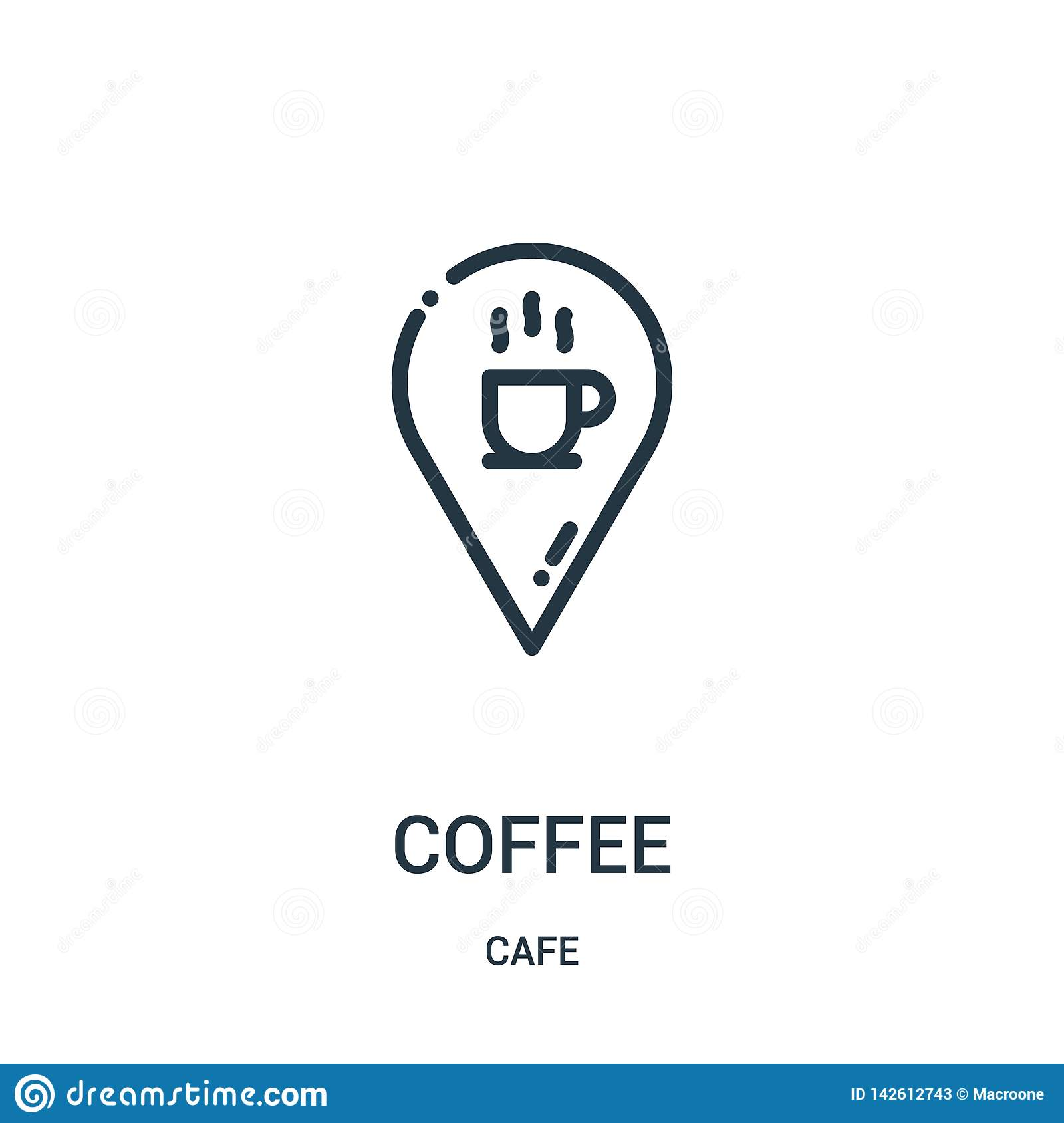 coffee icon vector from cafe collection. Thin line coffee outline icon vector illustration. Linear symbol