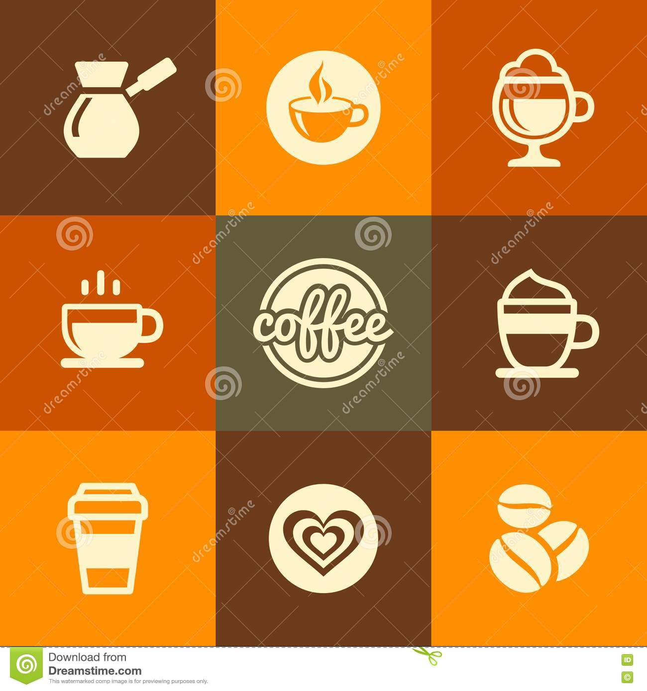 Coffee Cup Color Icons On White Background Vector