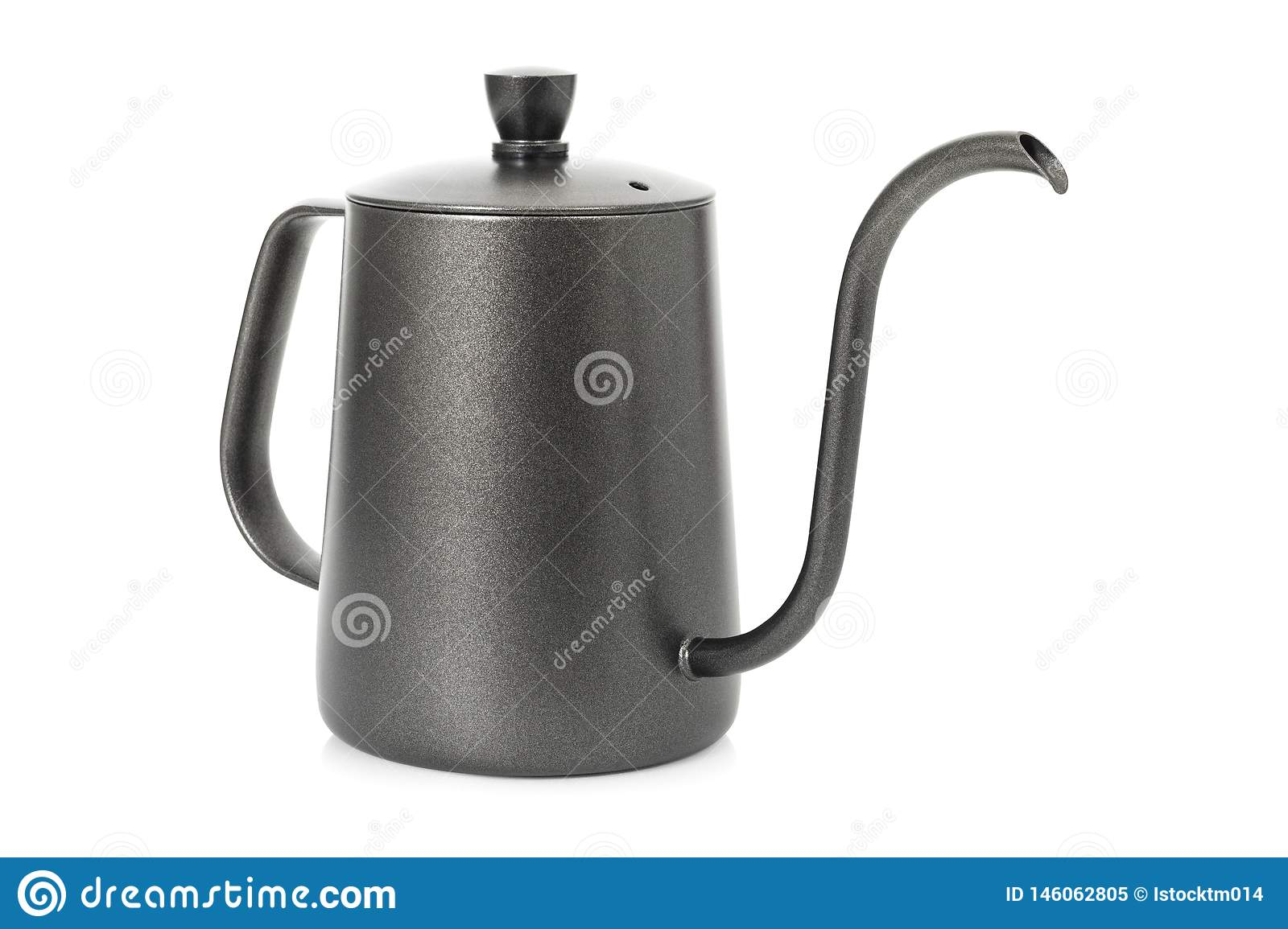 Coffee kettle isolated on white background. Tea kettle with handle. Clipping path