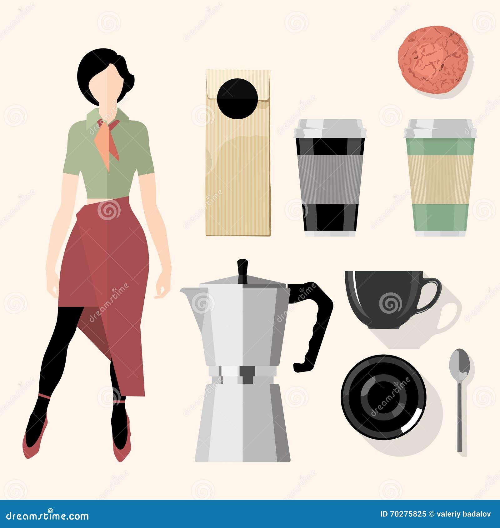 Coffee kitchen bar restaurant design elements stock for Kitchen set vector
