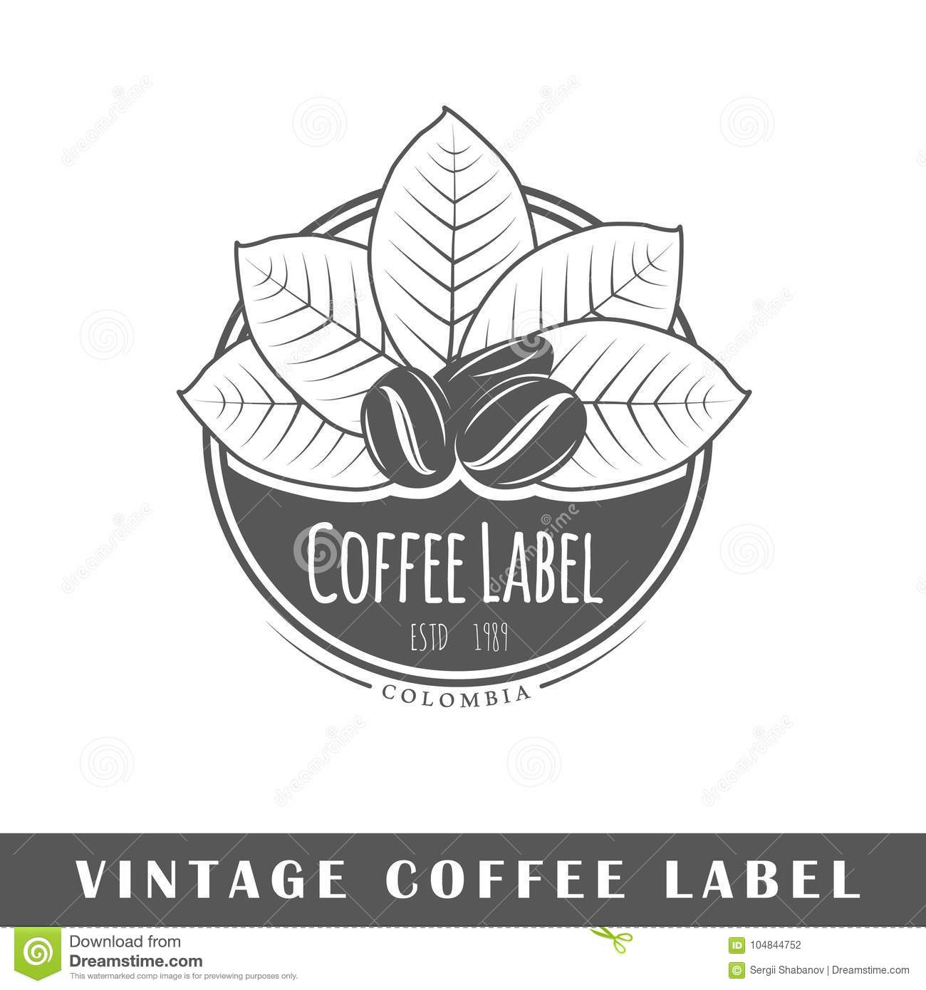 coffee label template stock vector illustration of font 104844752