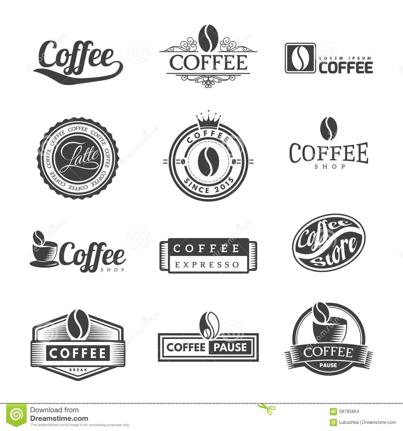 Coffee Labels Logo Stock Vector Image 58785864